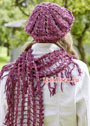 Берет и шарф из разноцветной хлопковой пряжи. Крючок