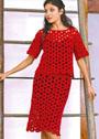 Красный летний костюм: пуловер и юбка из круговых мотивов. Крючок