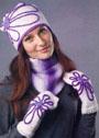 Теплый комплект из шапки, шарфа и варежек Волшебные цветы. Крючок и спицы