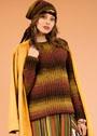 Теплый комплект в осенней цветовой гамме: пуловер и шапка-бини. Крючок