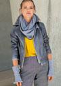 Длинный шарф и митенки с узором Ракушки. Крючок