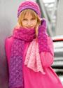 Мохеровый комплект в розовых тонах: шапка, шарф и митенки. Крючок