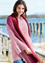 Комплект в розовых тонах: пуловер с расклешенными рукавами и шарф. Крючок
