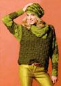 Комплект с узором ракушки: пуловер, снуд и шапочка. Крючок