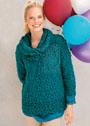 Изумрудно-бирюзовый ажурный пуловер, дополненный снудом. Крючок