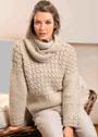 Светлый пуловер с сочетанием узоров, дополненный снудом. Крючок