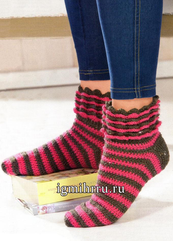 Полосатые серо-розовые носки из шерстяной пряжи. Вязание крючком