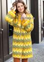 Уютное солнечное пальто в желто-зеленых тонах, длиной до колена. Крючок