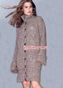 Меланжевое пальто с воротником-стойкой и широкими резинками. Крючок