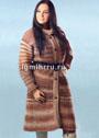 Расклешенное теплое пальто в полоску. Крючок
