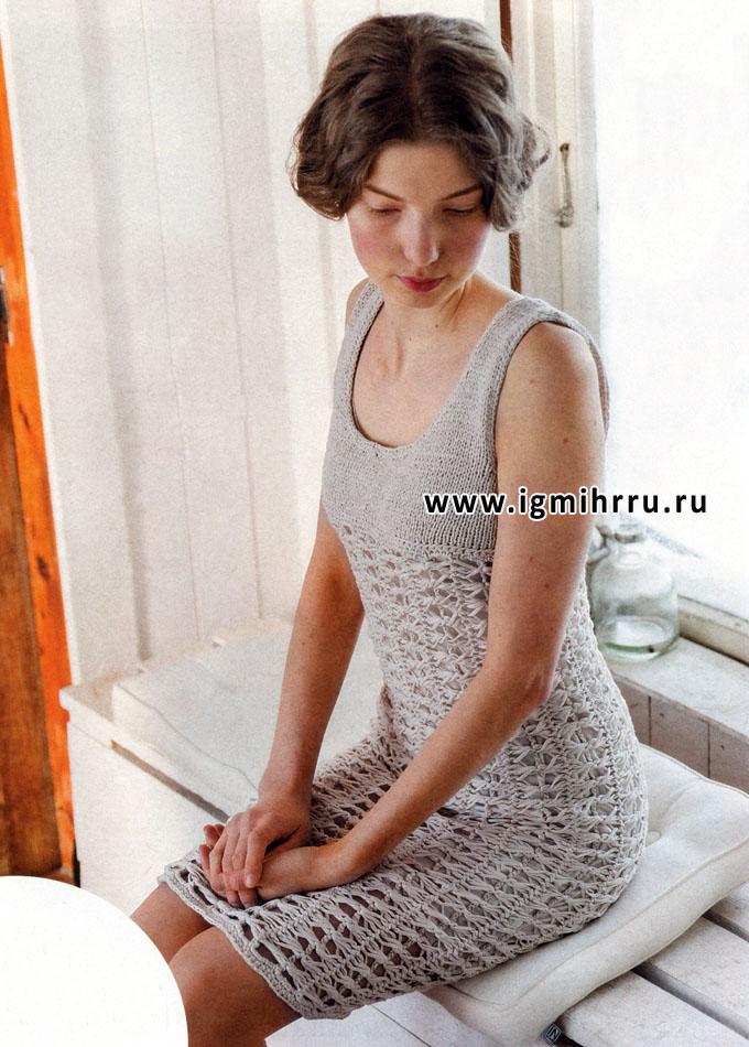 Бежевое платье с ажурными полосами, от финских дизайнеров. Крючок и Спицы