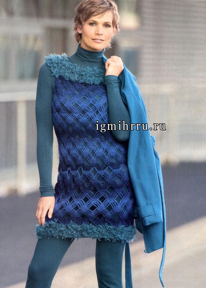 Модно и игриво. Мини-платье с выразительным плетеным узором и меховой отделкой. Крючок