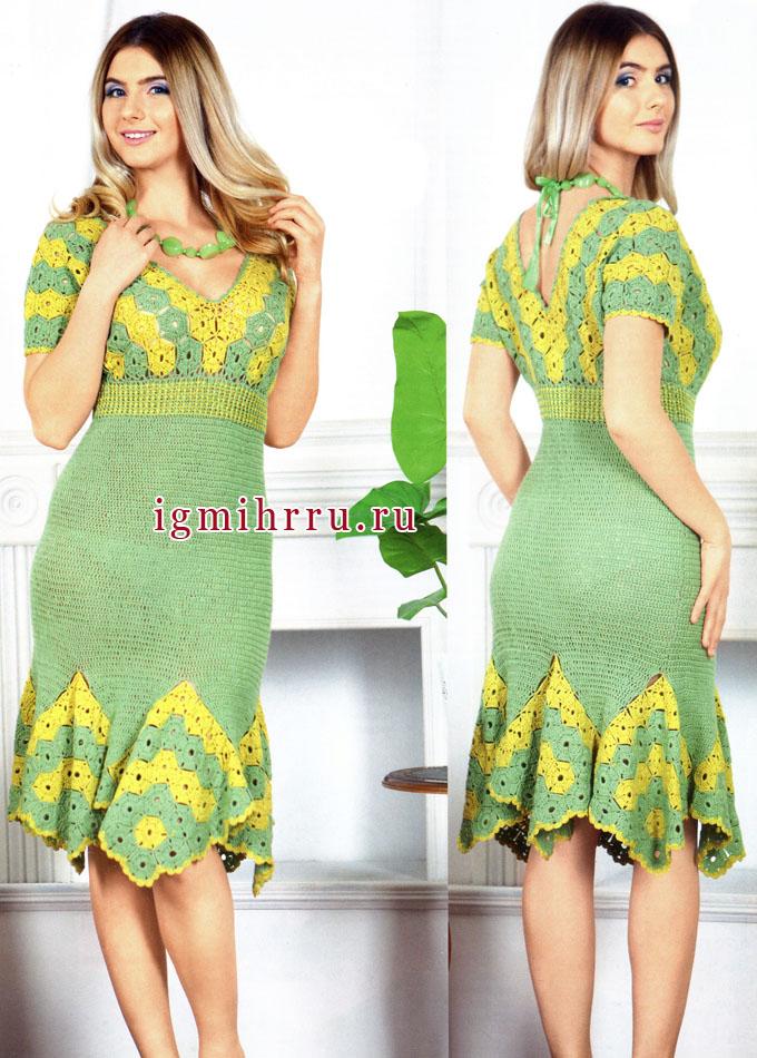 Женственное двухцветное платье с клиньями из мотивов. Вязание крючком