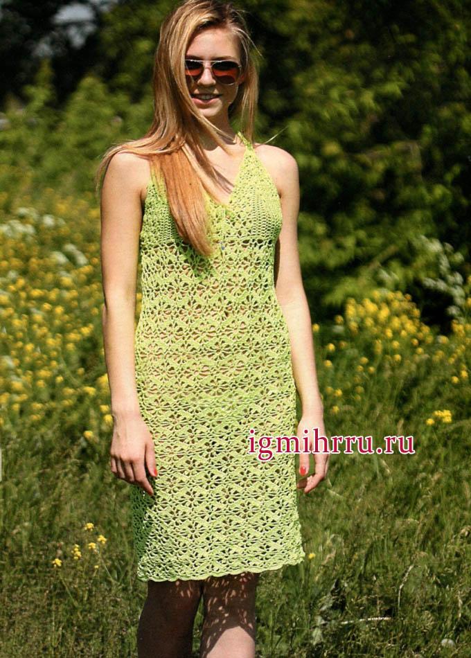 Летнее ажурное платье салатового цвета. Вязание крючком