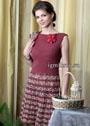 Летнее расклешенное платье бордово-меланжевой расцветки. Крючок