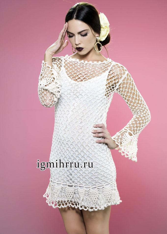 Белое ажурное платье с акцентом на сексуальность, от французских дизайнеров. Вязание крючком