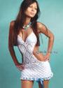 Молодежное пляжное платье белого цвета, с лентой. Крючок