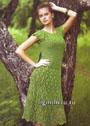 Летнее зеленое платье с узором из ананасов, связанное сверху вниз. Крючок