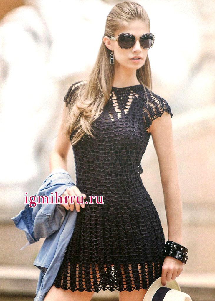 Маленькое черное платье с ажурными узорами, от бразильских дизайнеров. Вязание крючком