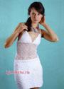 Летнее белое платье с открытой спиной. Крючок