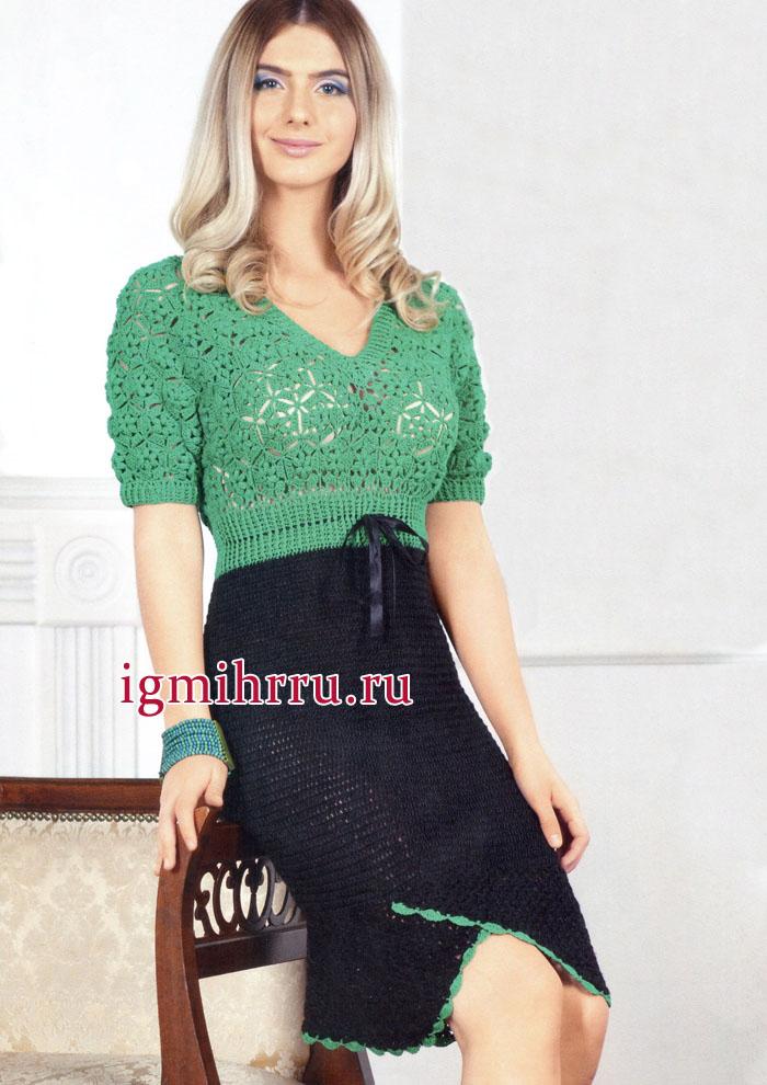 Женственно и романтично! Двухцветное черно-зеленое платье. Вязание крючком