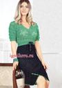 Женственно и романтично! Двухцветное черно-зеленое платье. Крючок