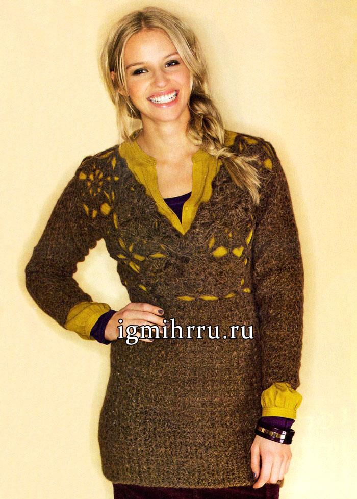 Теплое мини-платье цвета латуни, с узорной кокеткой. Вязание крючком