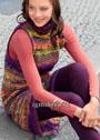 Разноцветный шерстяной сарафан из пряжи секционного крашения. Крючок