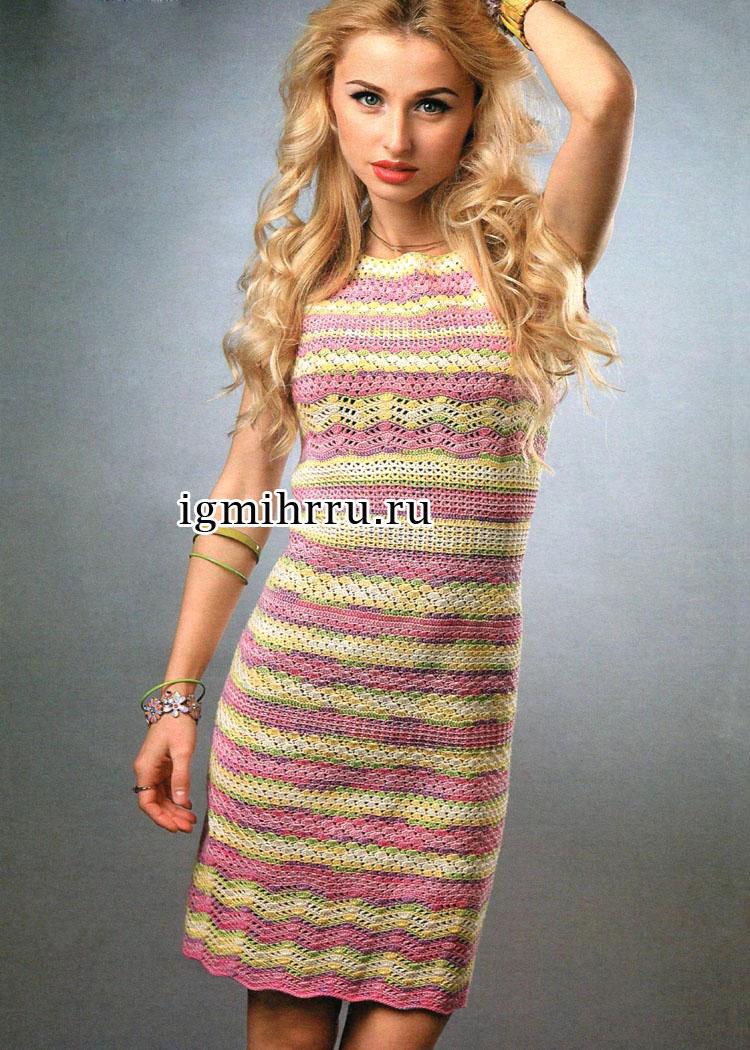 Ажурное летнее платье, связанное по кругу сверху вниз. Вязание крючком