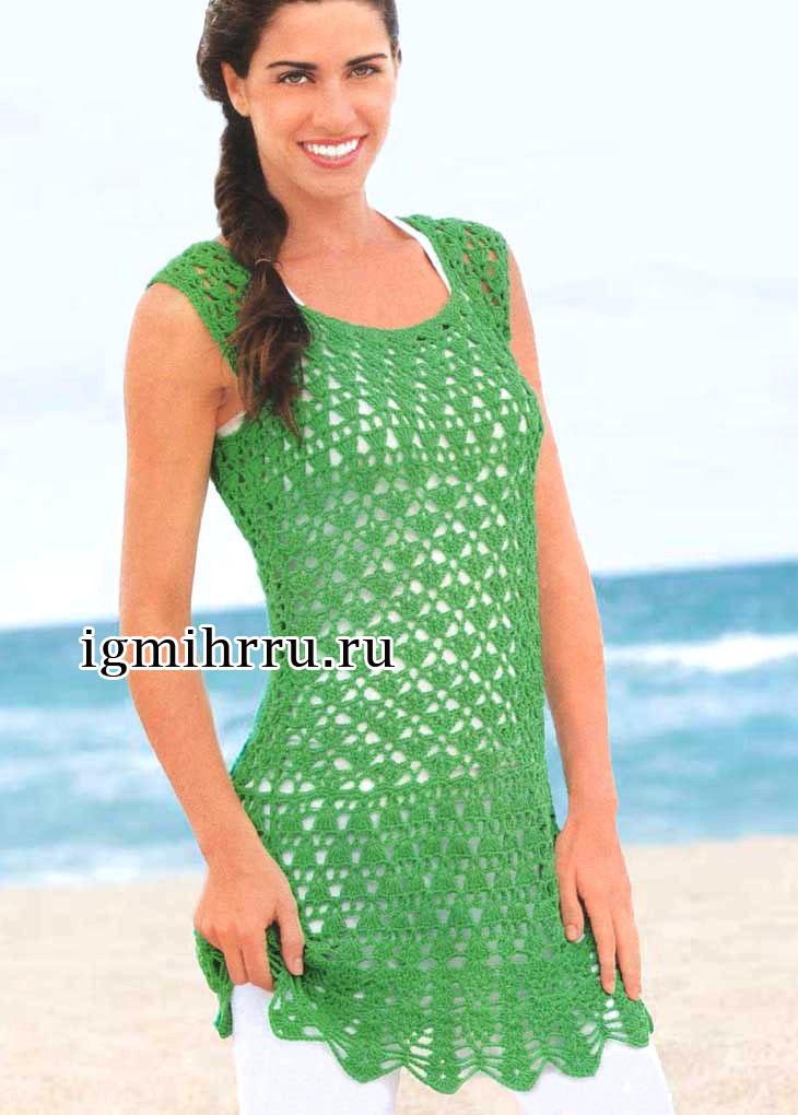 Летняя ажурная туника зеленого цвета. Вязание крючком