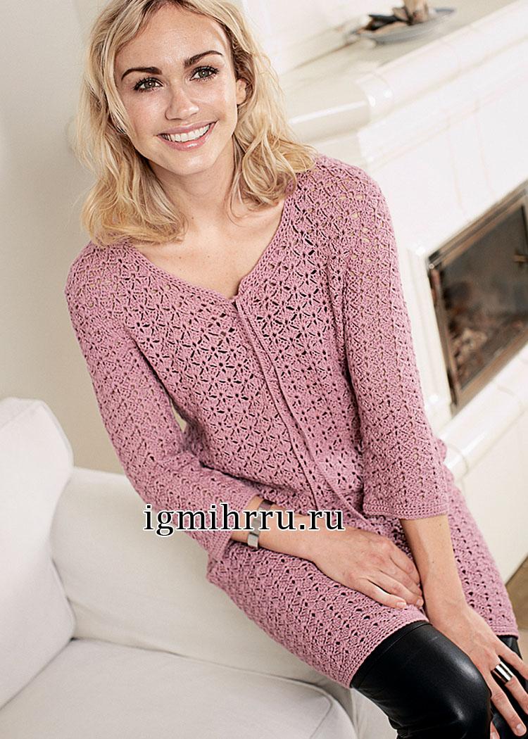Женственное кружевное платье пепельно-розового цвета. Вязание крючком