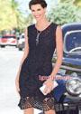 Элегантное черное платье с ажурными и арочными узорами. Крючок