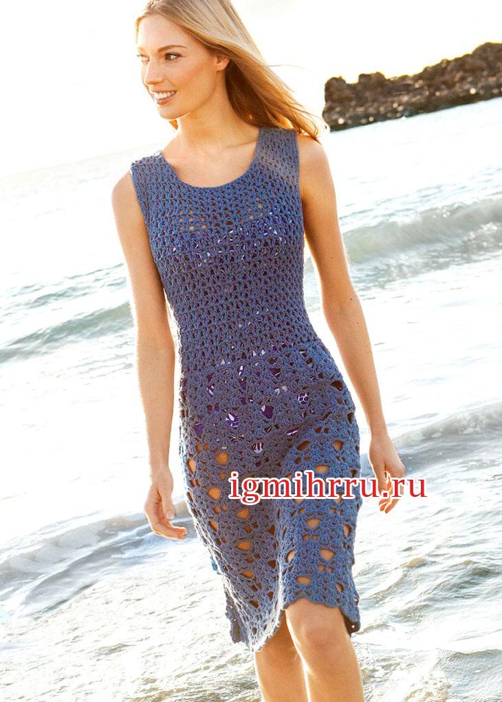 Синее платье с ажурными узорами. Вязание крючком