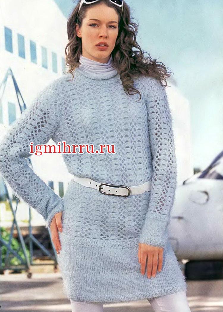 44820374a8622a2 Голубое теплое платье с кружевным узором. Вязание крючком и спицами