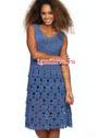 К летнему сезону. Синее платье с ажурной юбкой. Крючок