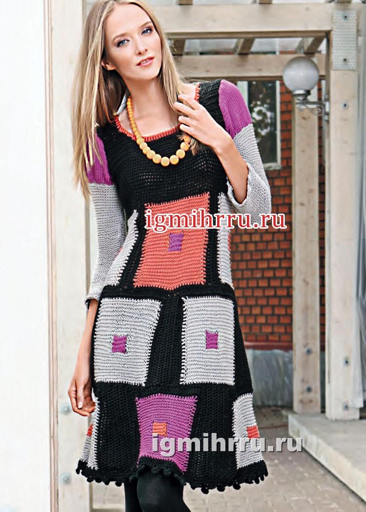 платье из разноцветных квадратных мотивов вязание крючком