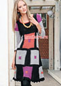 Платье из разноцветных квадратных мотивов. Крючок