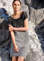 Нарядное платье с цветочными мотивами и ажурными дорожками. Крючок