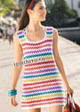 Летнее мини-платье в разноцветную полоску. Крючок