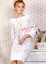 Белое платье с цветочными мотивами. Крючок и спицы