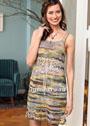 Ажурное мини-платье с высокой талией. Крючок