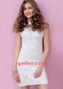 Маленькое белое платье с узором из квадратов. Крючок