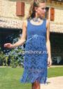 Синее летнее платье с кружевным низом. Крючок