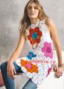 Летнее белое платье с разноцветными шестиугольными мотивами. Крючок