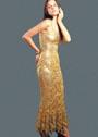 Нарядное золотистое платье из мотивов. Крючок