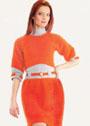 Оранжевое платье с бантовыми складками на юбке. Крючок