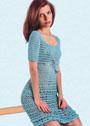 Бирюзовое ажурное платье. Крючок