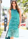 Бирюзовое летнее платье с ажурным низом. Крючок