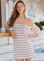 Трехцветное мини-платье в полоску. Крючок