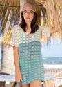 Двухцветное летнее мини-платье с цельновязаными рукавами. Крючок